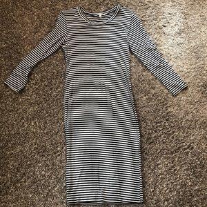 NWOT Black and White Striped Midi Dress
